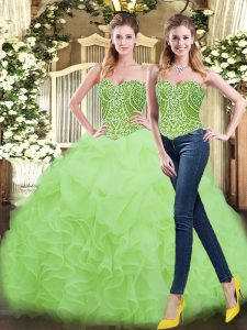 Top Selling Sleeveless Organza Floor Length Lace Up Vestidos de Quinceanera in Yellow Green with Beading and Ruffles