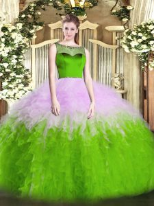 Pretty Multi-color Zipper Quinceanera Gowns Beading and Ruffles Sleeveless Floor Length