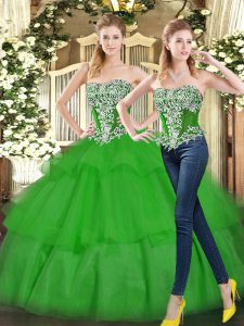 Fashionable Tulle Sleeveless Floor Length Sweet 16 Dresses and Beading and Ruffled Layers