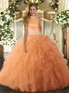 Orange Sleeveless Floor Length Beading and Ruffles Backless Quinceanera Gowns