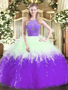 Sleeveless Floor Length Beading and Ruffles Zipper Vestidos de Quinceanera with Multi-color