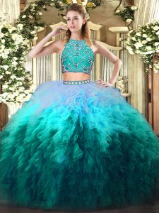 Multi-color Two Pieces Beading and Ruffles Quince Ball Gowns Zipper Tulle Sleeveless Floor Length