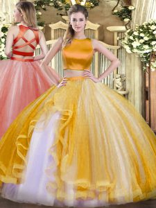Gold Criss Cross High-neck Ruffles Ball Gown Prom Dress Tulle Sleeveless