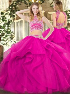 Simple Tulle Sleeveless Floor Length Sweet 16 Dresses and Beading and Ruffles