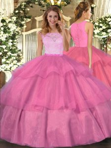 Best Selling Lace and Ruffled Layers Sweet 16 Dress Hot Pink Clasp Handle Sleeveless Floor Length
