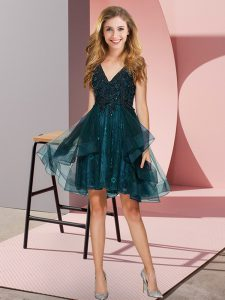 Low Price Teal V-neck Neckline Appliques and Ruffles Wedding Party Dress Sleeveless Backless