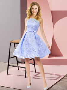 Discount Lavender Dama Dress Prom and Party and Wedding Party with Bowknot Scoop Sleeveless Zipper