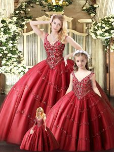 Top Selling Floor Length Red Ball Gown Prom Dress Tulle Sleeveless Beading