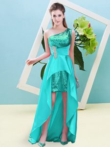 Exceptional Aqua Blue One Shoulder Lace Up Beading and Sequins Prom Party Dress Sleeveless