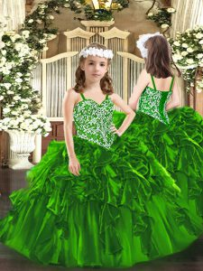 Dramatic Organza Sleeveless Floor Length Pageant Gowns and Beading and Ruffles