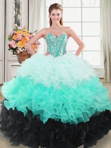 Multi-color Ball Gowns Organza Sweetheart Sleeveless Beading and Ruffled Layers Floor Length Lace Up Sweet 16 Dress