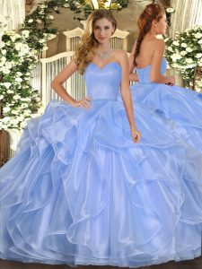 Lavender Sweet 16 Dress Military Ball and Sweet 16 and Quinceanera with Ruffles Sweetheart Sleeveless Lace Up