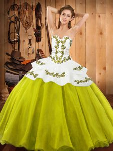 Edgy Sleeveless Floor Length Embroidery Lace Up Quinceanera Gown with Yellow Green