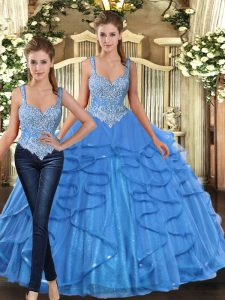 Spectacular Sleeveless Floor Length Beading and Ruffles Lace Up Quince Ball Gowns with Baby Blue