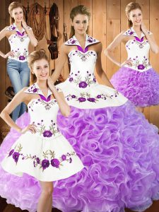 Superior Lilac Sleeveless Floor Length Embroidery Lace Up Vestidos de Quinceanera