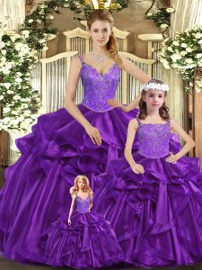 Admirable Floor Length Ball Gowns Sleeveless Purple Quinceanera Gowns Lace Up
