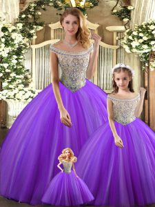 High Quality Bateau Sleeveless Quinceanera Gowns Floor Length Beading Purple Tulle
