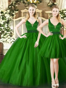 Floor Length Dark Green Quinceanera Gown Straps Sleeveless Lace Up