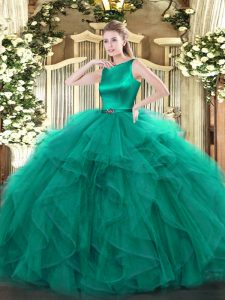Top Selling Turquoise Clasp Handle Scoop Ruffles Quince Ball Gowns Organza Sleeveless