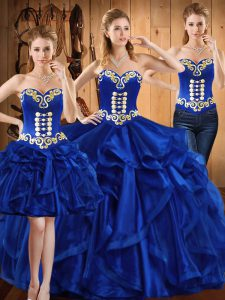 Organza Sweetheart Sleeveless Lace Up Embroidery and Ruffles Quince Ball Gowns in Royal Blue