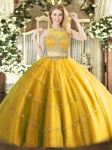 Gold Zipper Scoop Beading Sweet 16 Quinceanera Dress Tulle Sleeveless