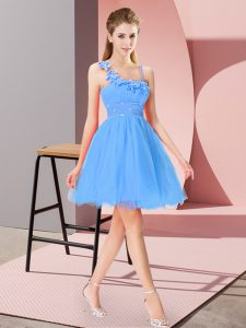 Comfortable Baby Blue Organza Zipper Asymmetric Sleeveless Mini Length Prom Gown Beading and Hand Made Flower
