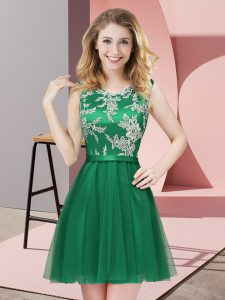 Attractive Dark Green Sleeveless Tulle Side Zipper Court Dresses for Sweet 16 for Prom and Party and Wedding Party