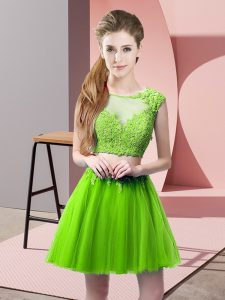 Tulle Zipper Prom Dresses Sleeveless Mini Length Appliques