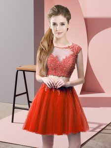 Two Pieces Prom Dresses Red Scoop Tulle Sleeveless Mini Length Zipper