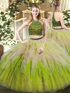 Fantastic Multi-color Quinceanera Gown Military Ball and Sweet 16 and Quinceanera with Beading and Ruffles Halter Top Sleeveless Lace Up