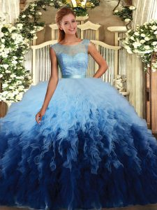 Inexpensive Sleeveless Tulle Floor Length Backless Sweet 16 Dress in Multi-color with Beading and Ruffles