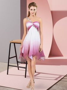 One Shoulder Sleeveless Lace Up Prom Dresses Multi-color Fading Color