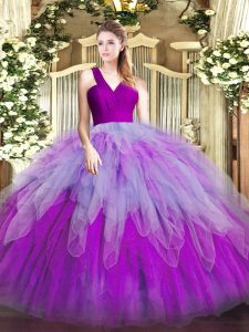 Decent Floor Length Ball Gowns Sleeveless Multi-color Quinceanera Gown Zipper