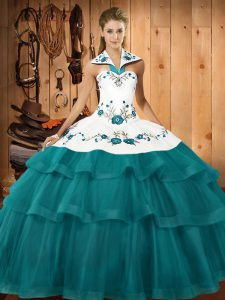 Captivating Embroidery and Ruffled Layers Sweet 16 Dress Teal Lace Up Sleeveless Sweep Train