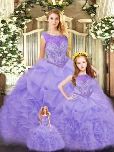 Colorful Lavender Scoop Lace Up Ruffles Quinceanera Dress Sleeveless