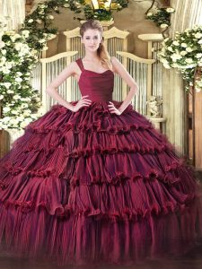 High Class Organza Straps Sleeveless Zipper Ruffled Layers Ball Gown Prom Dress in Burgundy