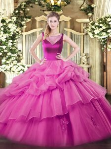 Gorgeous Sleeveless Beading and Appliques Side Zipper Sweet 16 Dress