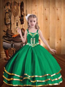 Eye-catching Green Ball Gowns Embroidery and Ruffled Layers Pageant Gowns For Girls Lace Up Organza Sleeveless Floor Length