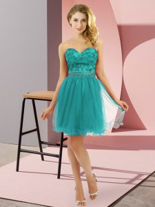 Turquoise Sweetheart Neckline Beading Sleeveless Zipper