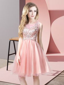 Custom Fit Sleeveless Knee Length Beading Zipper Prom Dress with Baby Pink