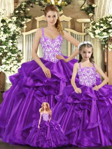 Graceful Purple Ball Gowns Straps Sleeveless Organza Floor Length Lace Up Beading and Ruffles 15th Birthday Dress