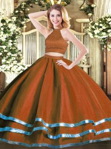 Rust Red Sleeveless Beading Floor Length Quinceanera Gown