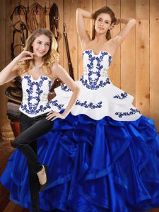 Enchanting Blue Strapless Neckline Embroidery and Ruffles Quince Ball Gowns Sleeveless Lace Up