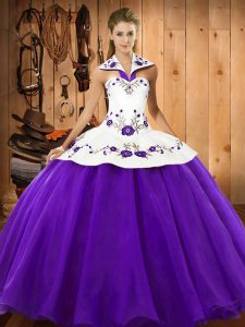 Purple Ball Gowns Halter Top Sleeveless Satin and Tulle Floor Length Lace Up Embroidery Quinceanera Dresses