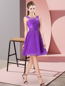 Purple Chiffon Zipper Quinceanera Court Dresses Sleeveless Knee Length Appliques