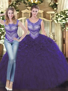 Scoop Sleeveless Tulle 15 Quinceanera Dress Beading and Ruffles Lace Up