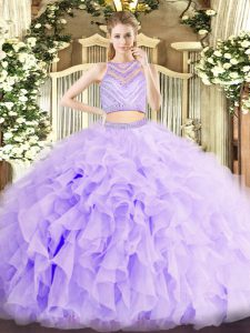 Eye-catching Two Pieces Ball Gown Prom Dress Lavender Scoop Organza Sleeveless Floor Length Zipper