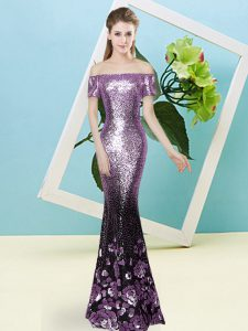 Sexy Lilac Short Sleeves Sequined Zipper Evening Dress for Prom and Party