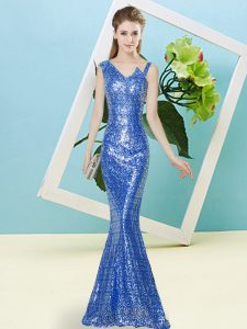 Floor Length Blue Dress for Prom Sequined Sleeveless Sequins