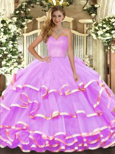 Cheap Sleeveless Organza Floor Length Lace Up 15 Quinceanera Dress in Lilac with Ruffled Layers